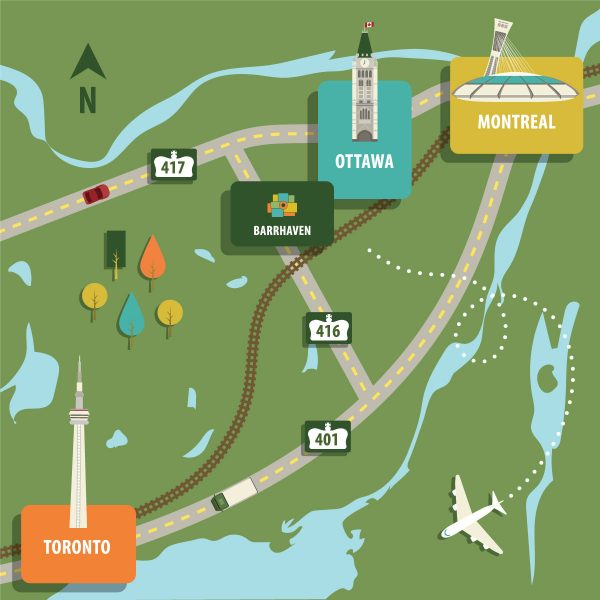 <b>Located on Hwy 416, two minutes from Hwy 417, Barrhaven provides easy access to the Ottawa International Airport, to cities west and east (including Kanata and Montreal), and south to Hwy 401 to Toronto and beyond.</b>